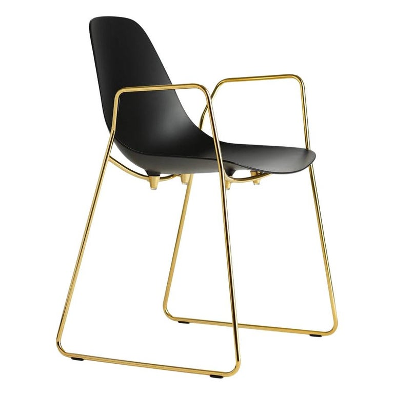For Sale: Black (Black with Gold Structure) Opinion Ciatti Mammamia Sled Stackable Chair with Armrests Set of 2