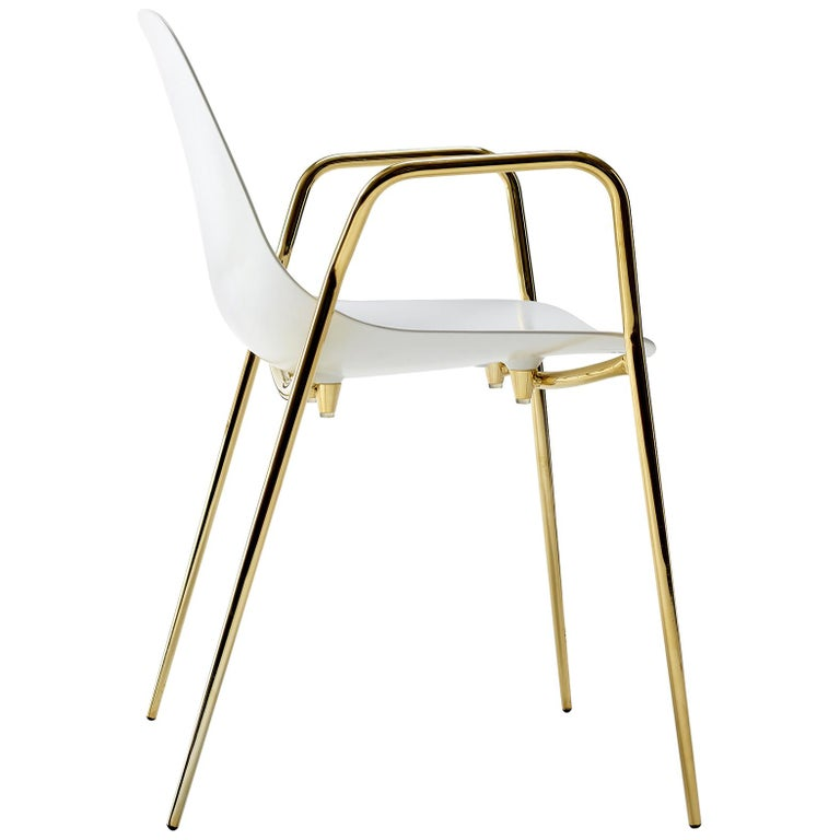 For Sale: White (White with Gold Structure) Opinion Ciatti Mammamia Stackable Chair with Armrests Set of 2