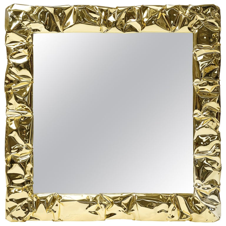 For Sale: Gold (Hand-Wrinkled Gold) Opinion Ciatti Tab.u Large Square Mirror