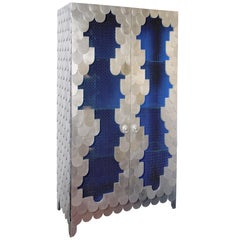 Oporto Cabinet in Blue with Silver Leaf Finish