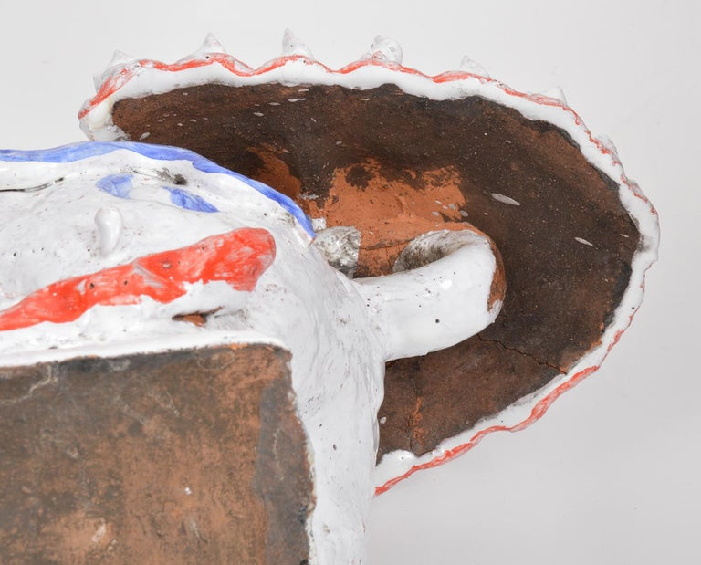 Opposing Pair of Italian Ceramic Glazed Foo Dogs on Bases Manner Ugo Zaccagnini For Sale 5