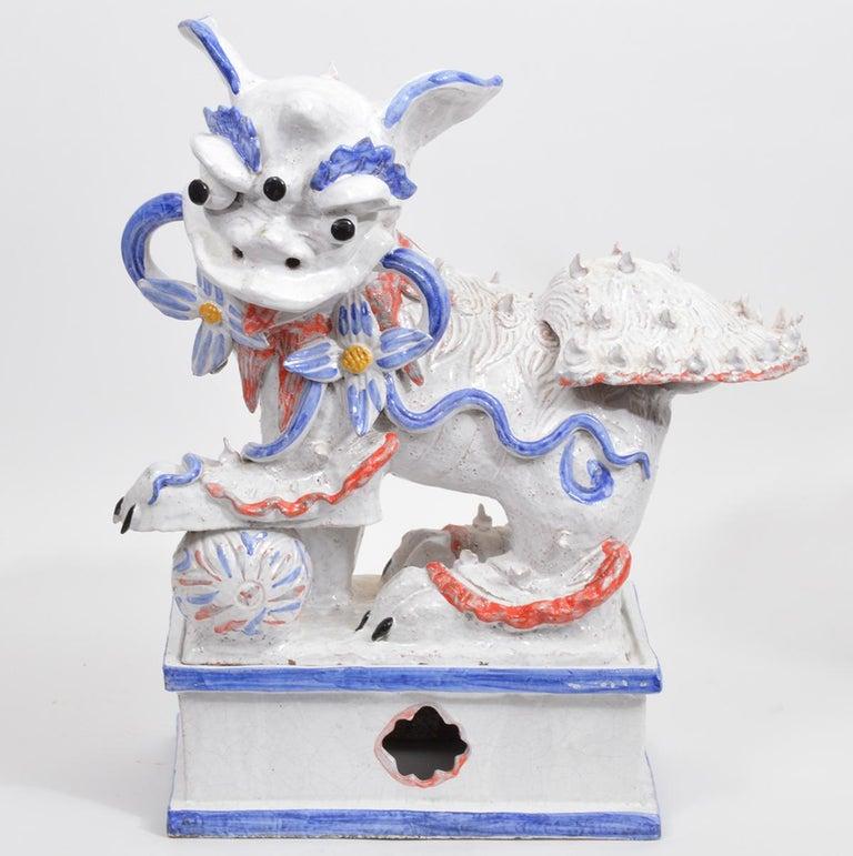 Opposing Pair of Italian Ceramic Glazed Foo Dogs on Bases Manner Ugo Zaccagnini For Sale 6