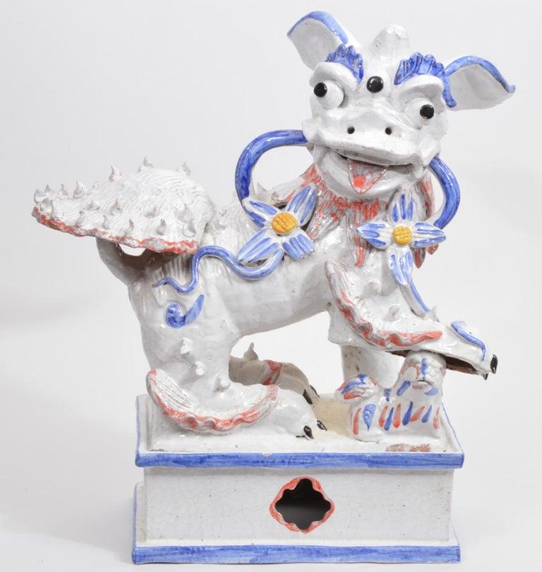 Opposing Pair of Italian Ceramic Glazed Foo Dogs on Bases Manner Ugo Zaccagnini For Sale 7