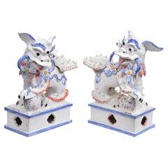 Opposing Pair of Italian Ceramic Glazed Foo Dogs on Bases Manner Ugo Zaccagnini