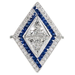 """""""Opposing Trillions"""" Diamond and Sapphire Ring"""