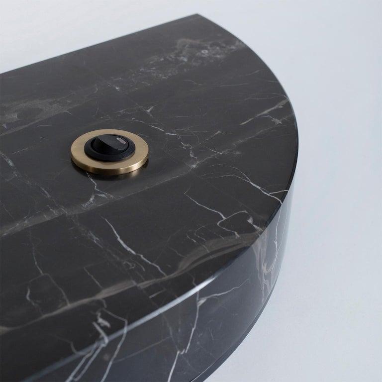 Brushed Opposite Floor Lamp Silver Portoro Marble Brass Oak Metal Black Lacquered For Sale