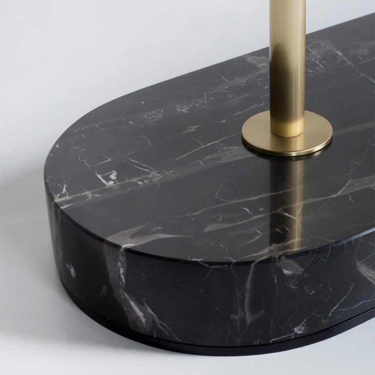 Opposite Floor Lamp Silver Portoro Marble Brass Oak Metal Black Lacquered In New Condition For Sale In Cartaxo, PT