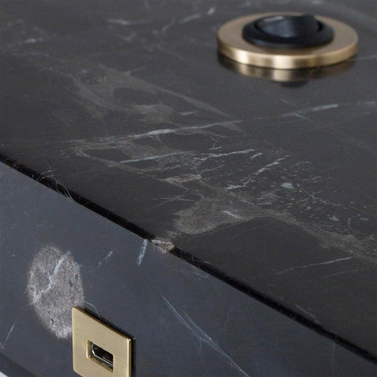Contemporary Opposite Floor Lamp Silver Portoro Marble Brass Oak Metal Black Lacquered For Sale