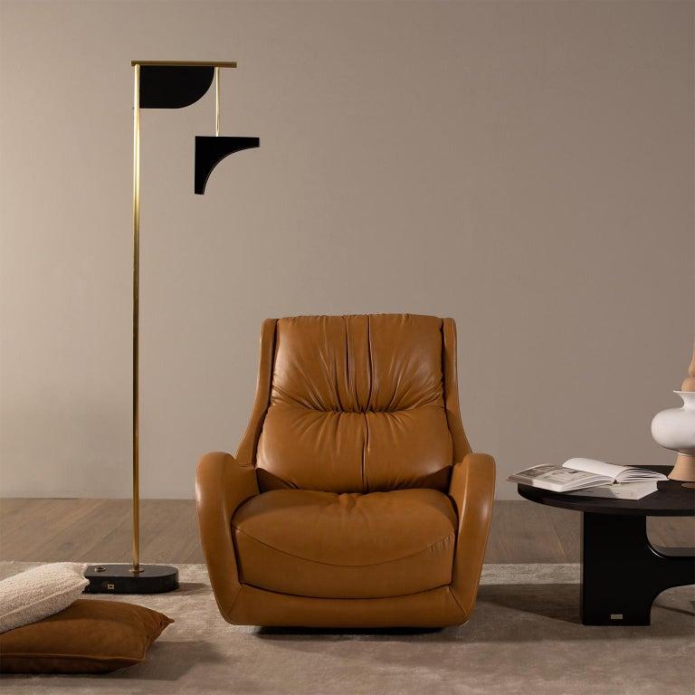 Opposite Floor Lamp Silver Portoro Marble Brass Oak Metal Black Lacquered For Sale 1