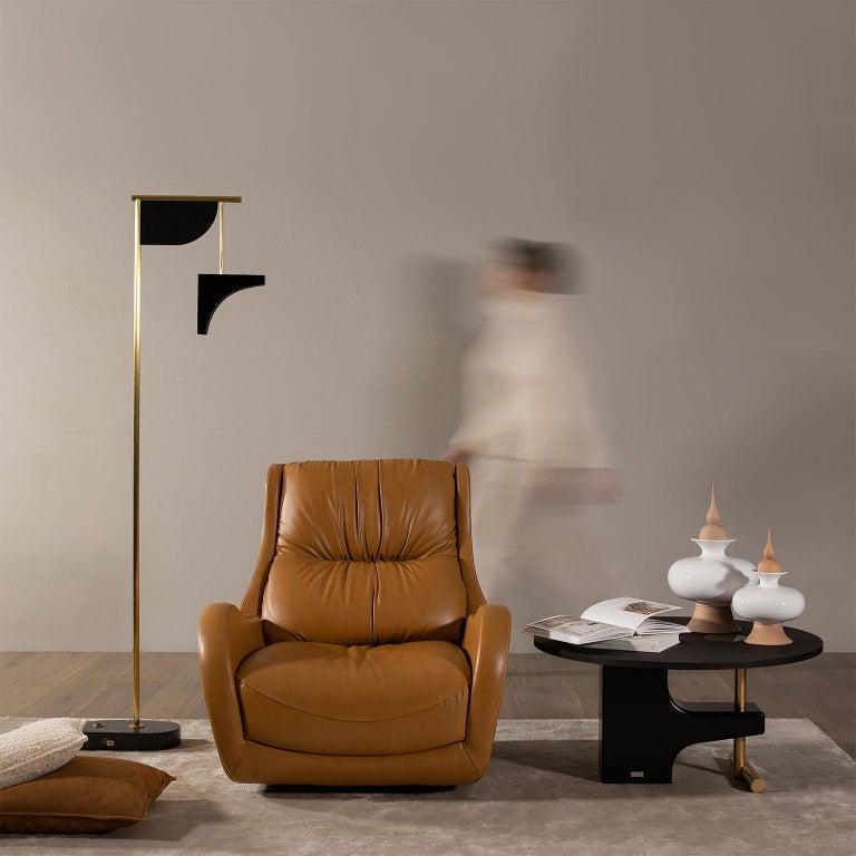 Opposite Floor Lamp Silver Portoro Marble Brass Oak Metal Black Lacquered For Sale 2