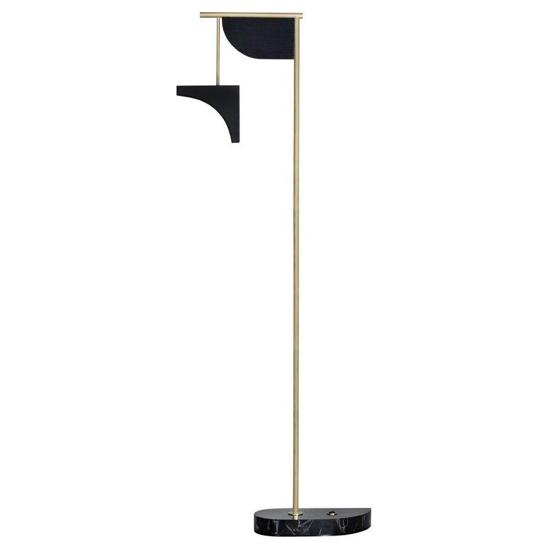 Opposite Floor Lamp Silver Portoro Marble Brass Oak Metal Black Lacquered For Sale
