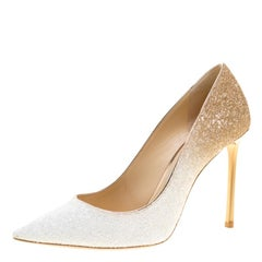 Optic White And Beige Coarse Glitter Degradé Romy Pointed Toe Pumps Size 38