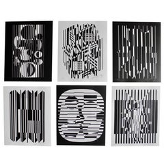 Optical Art Black and White Lithographs or Screen-Prints by Victor Vasarely