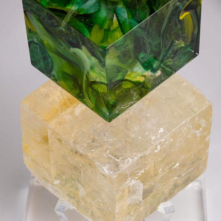 Optical Calcite and Boiled Glass Fusion Sculpture on Acrylic Base For Sale 4