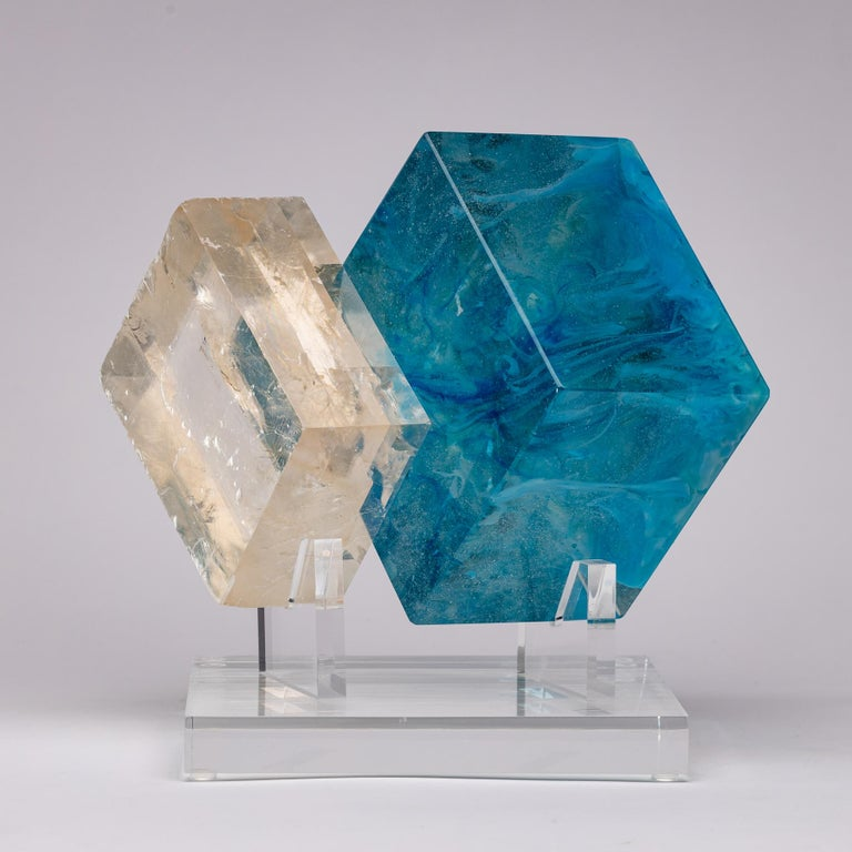 Cubes blues, optical calcite and glass sculpture from TYME collection, a collaboration by Orfeo Quagliata and Ernesto Durán