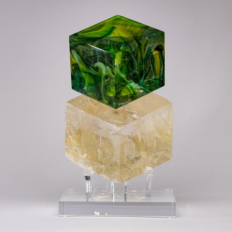 CubesGreens - Optical calcite and glass sculpture from TYME collection, a collaboration by Orfeo Quagliata and Ernesto Durán  TYME collection  A dance between purity and detail bring a creation of unique pieces merging nature's gems and human