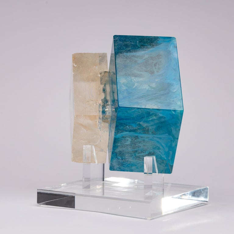 Organic Modern Optical Calcite and Boiled Glass Fusion Sculpture on Acrylic Base For Sale