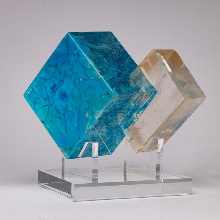 Mexican Optical Calcite and Boiled Glass Fusion Sculpture on Acrylic Base For Sale