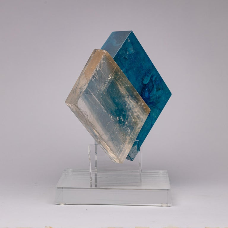 Contemporary Optical Calcite and Boiled Glass Fusion Sculpture on Acrylic Base For Sale