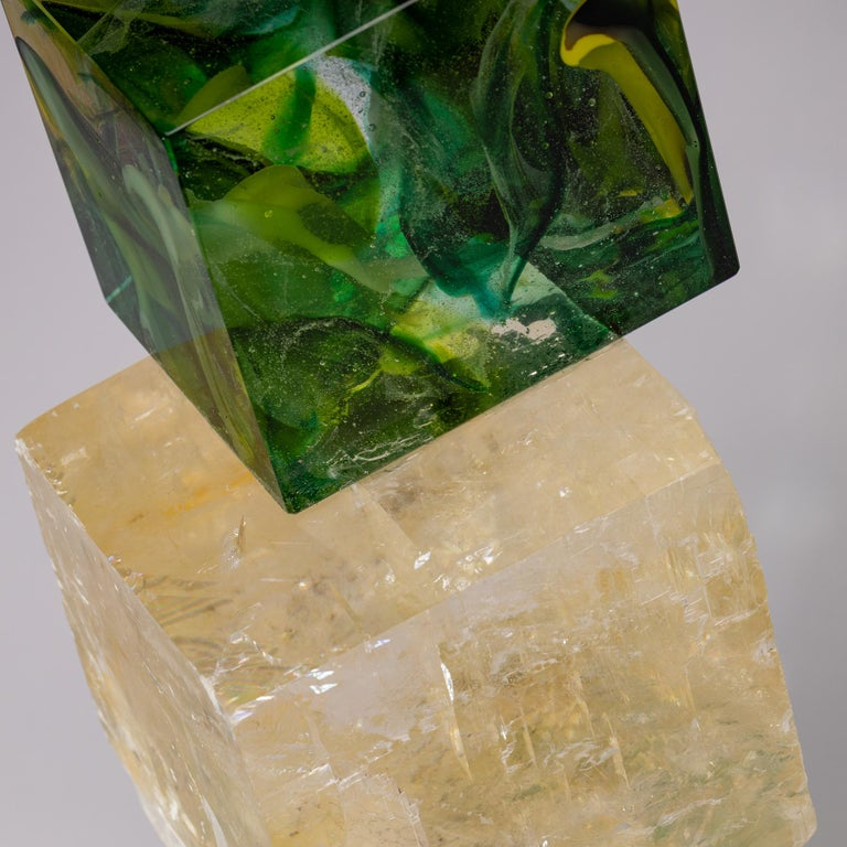 Optical Calcite and Boiled Glass Fusion Sculpture on Acrylic Base For Sale 1