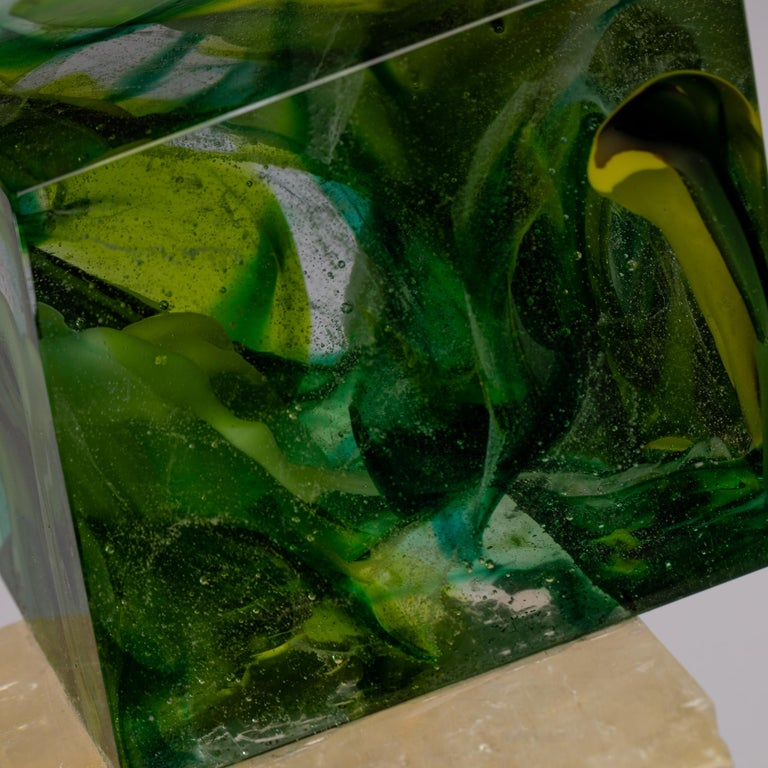 Optical Calcite and Boiled Glass Fusion Sculpture on Acrylic Base For Sale 2