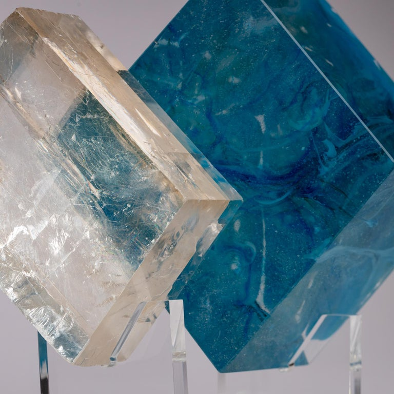 Optical Calcite and Boiled Glass Fusion Sculpture on Acrylic Base For Sale 3