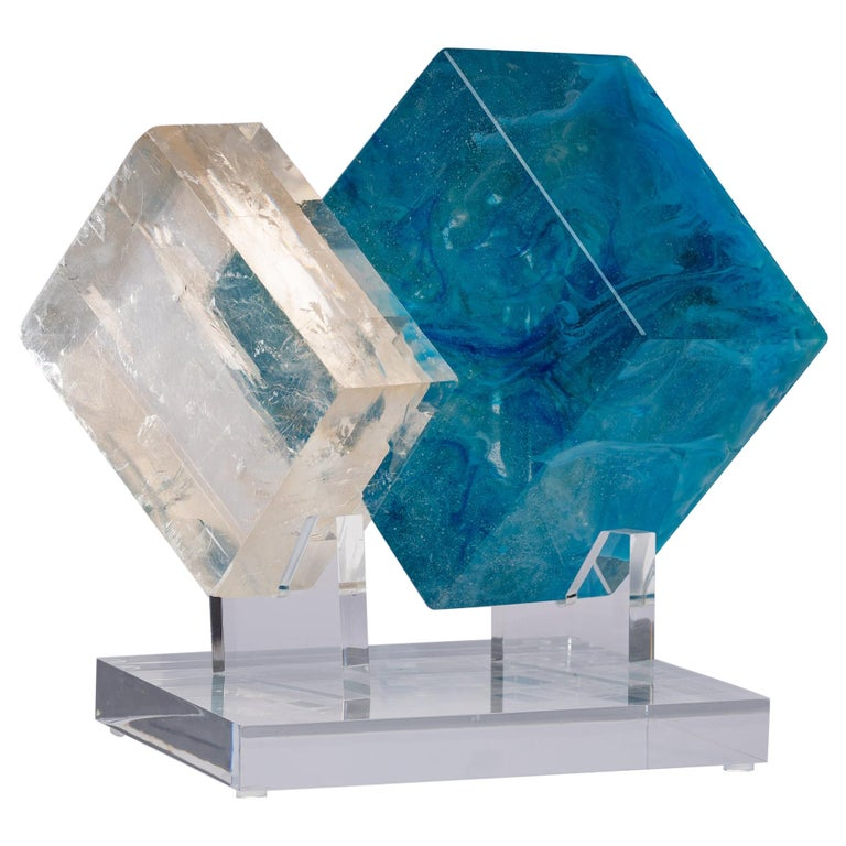 Optical Calcite and Boiled Glass Fusion Sculpture on Acrylic Base For Sale