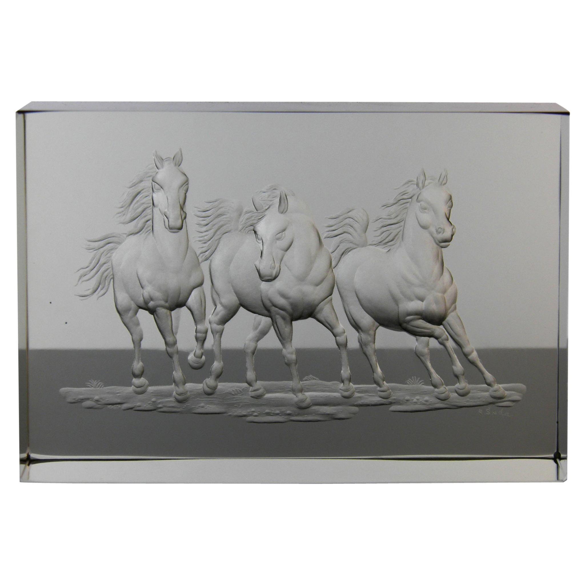 Optical Glass Block Horse Motive Handcut Bohemian European