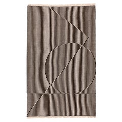 Opticals Area Rug Object Handwoven Wool in Black and White