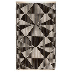 Opticals Wall Hanging Intersection Handwoven Wool in Black and White in Stock