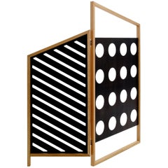 Opto, Folding Screen A, Black, Natural Oak Frame, Minimalist, Bauhaus Mood