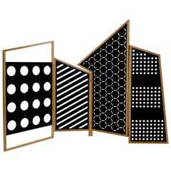 Opto Folding Screen Bauhaus Optical Mood, Oak Frame and Metal Black Panels
