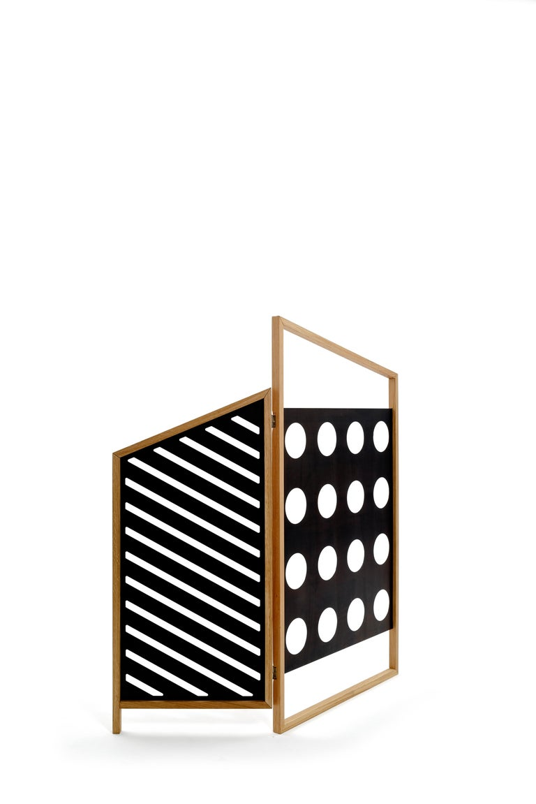 Contemporary Opto, Minimalist Folding Screen Bauhaus Mood, Oak Frame and Black Panels For Sale