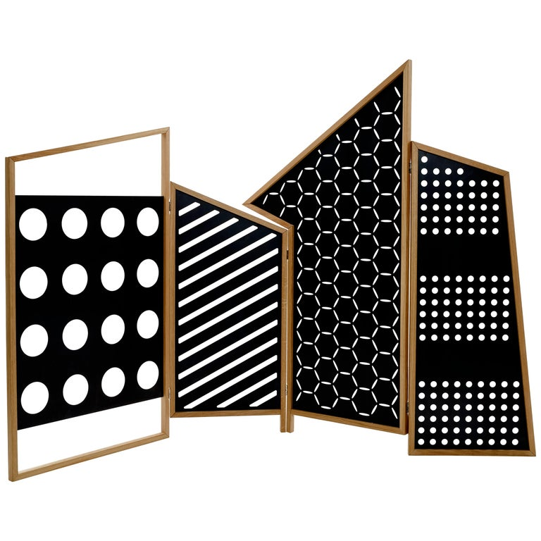 Opto, Minimalist Folding Screen Bauhaus Mood, Oak Frame and Black Panels For Sale