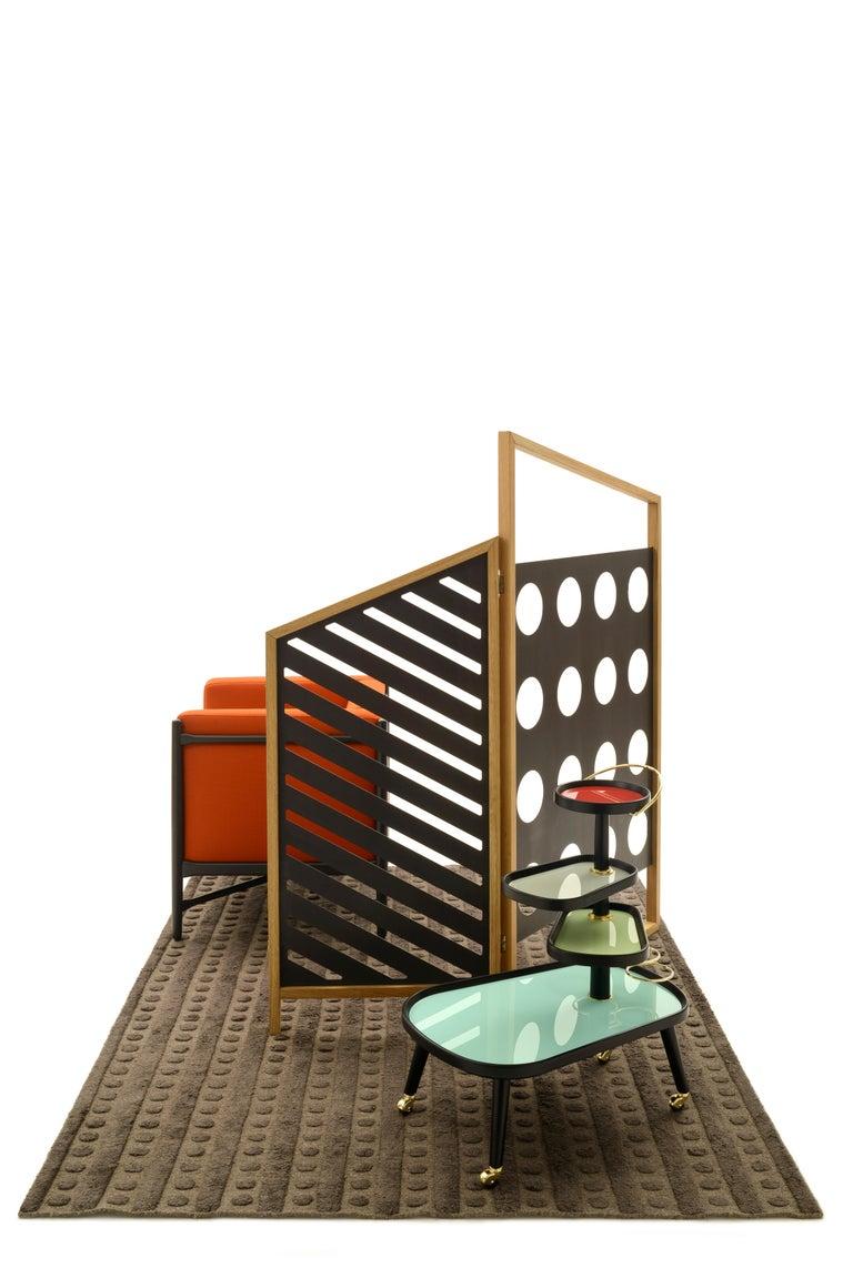 Opto, Minimalist Folding Screen, Oak Frame, Orange, Green, Rose, Azure Panels For Sale 5
