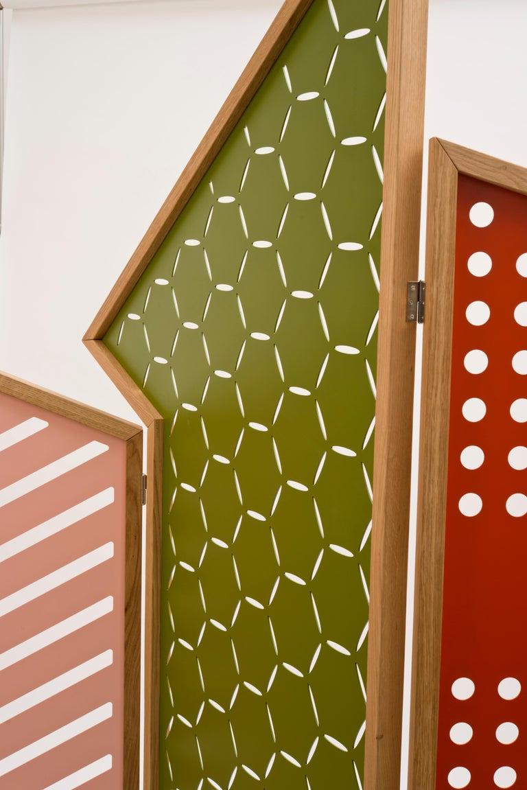 Italian Opto, Minimalist Folding Screen, Oak Frame, Orange, Green, Rose, Azure Panels For Sale
