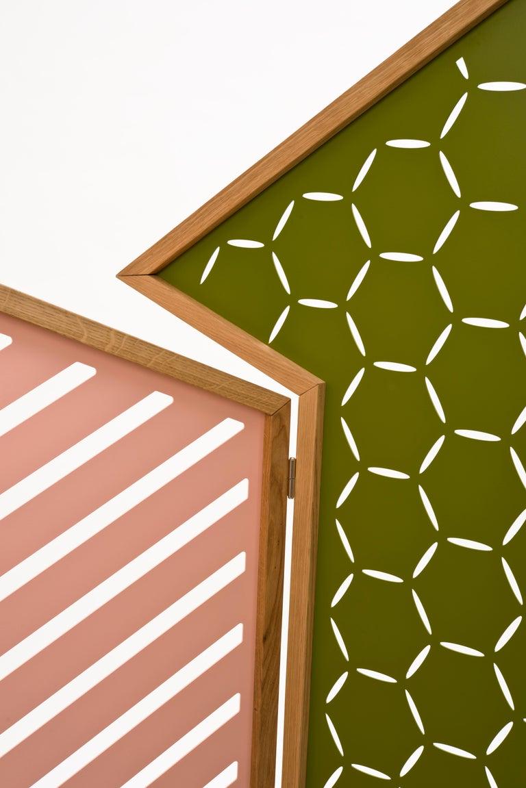 Carved Opto, Minimalist Folding Screen, Oak Frame, Orange, Green, Rose, Azure Panels For Sale