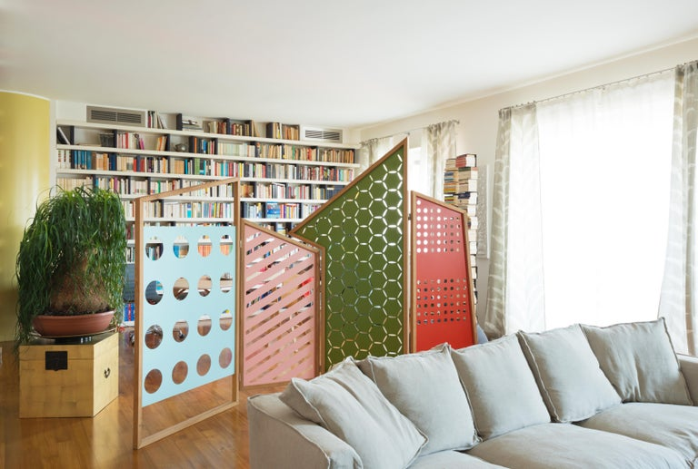 Opto, Minimalist Folding Screen, Oak Frame, Orange, Green, Rose, Azure Panels In New Condition For Sale In Milan, Lombardy