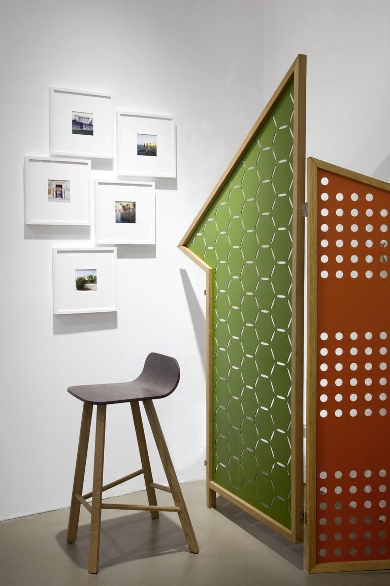 Contemporary Opto, Minimalist Folding Screen, Oak Frame, Orange, Green, Rose, Azure Panels For Sale