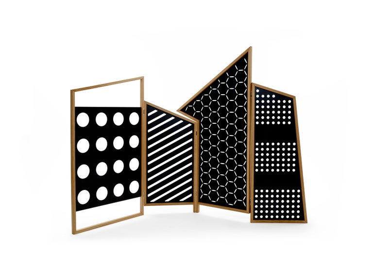 Opto, Minimalist Folding Screen, Oak Frame, Orange, Green, Rose, Azure Panels For Sale 1