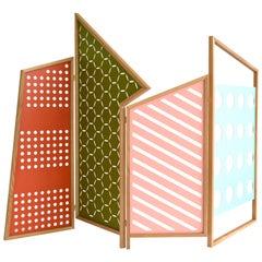 Opto Minimalistische Klappbare Trennwand, Eichenrahmen, Orange, Grüne, Rose, Azure Wände