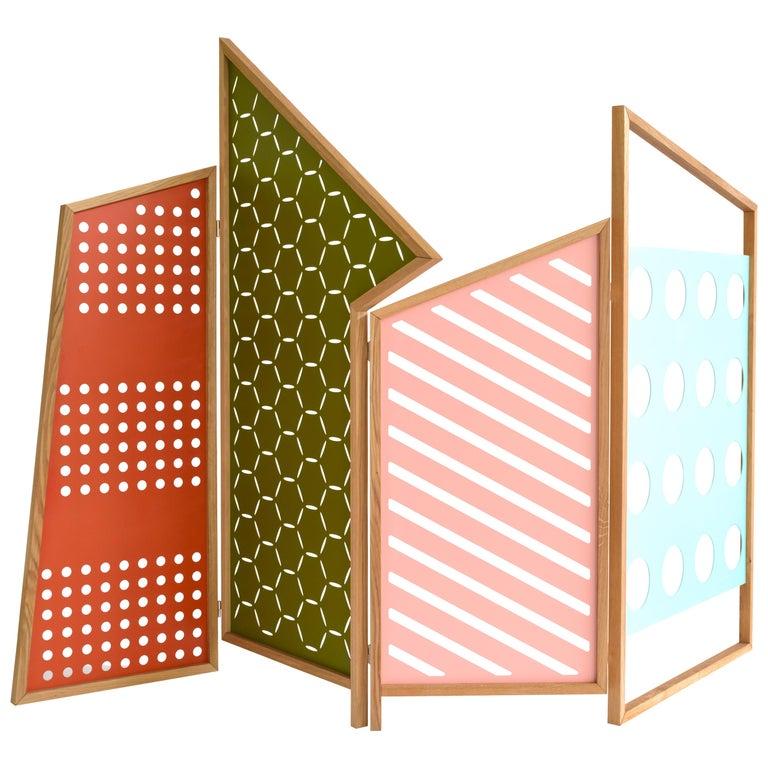 Opto, Minimalist Folding Screen, Oak Frame, Orange, Green, Rose, Azure Panels For Sale