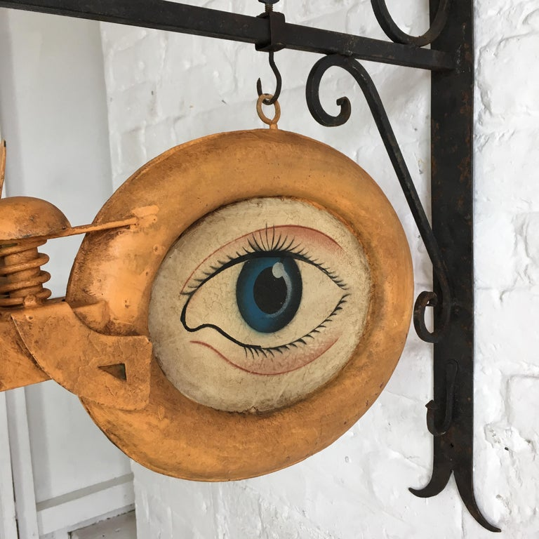 Optometrist Trade Sign With Wall Bracket Circa 1920s At