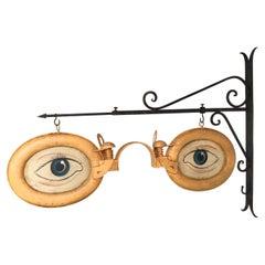 Optometrist Trade Sign with Wall Bracket, circa 1920s