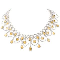 Opulent 55.50 Carat Yellow and White Diamond 18 Karat Chandelier Choker Necklace