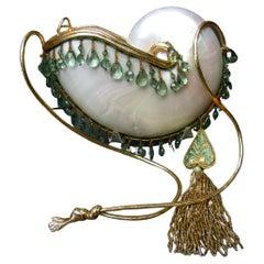 Opulent Artisan Chamber Nautilus Jeweled Shell Evening Bag c 1970s