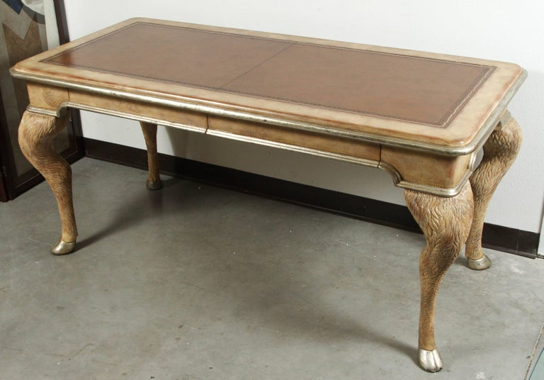 Leather Opulent Classic Style Desk by Maitland Smith For Sale