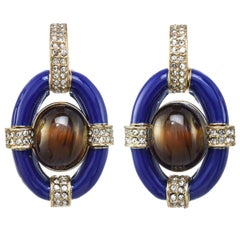 Opulent Door Knocker Earring with Blue Enamel and Genuine Tiger's Eye Cabochons
