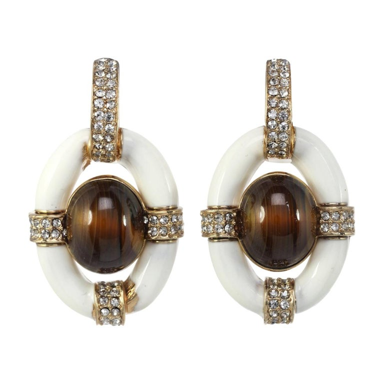Opulent Door Knocker Earring with Ivory Enamel and Genuine Tiger's Eye Cabochon