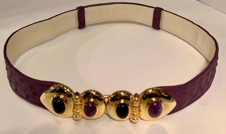 Brown Opulent Judith Leiber Real Lavender Jade, Black Onyx and Plum Ostrich Gold Belt  For Sale